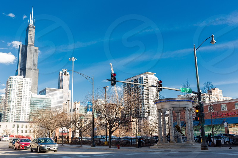 Greektown has one of the best views of Willis Tower as well as Greek-inspired features on the street corners.  photo