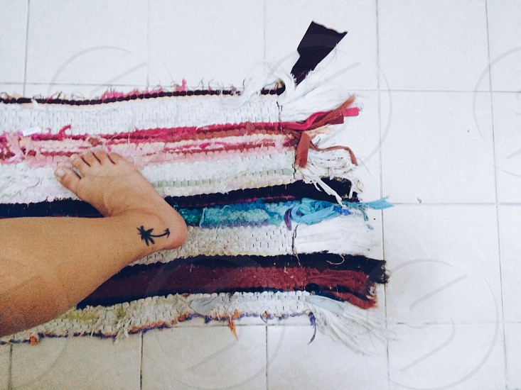 tattoo palm tree colors rug stripes ankle foot photo