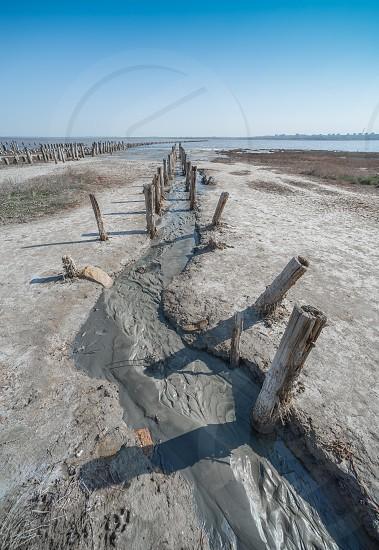 Salty drying lake Kuyalnik near Odessa Ukraine photo