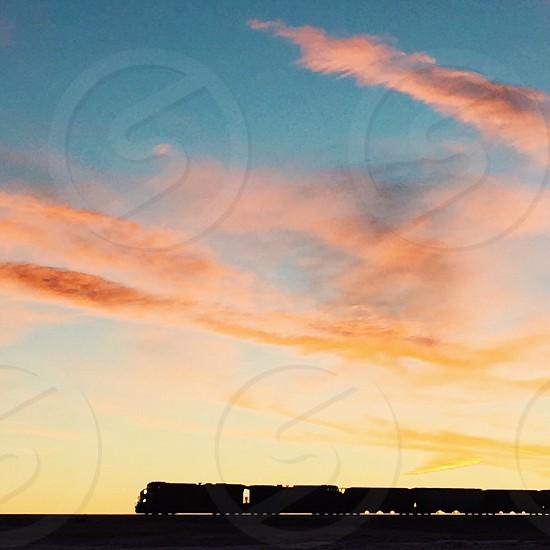 Train prairies sunrise morning Sky photo