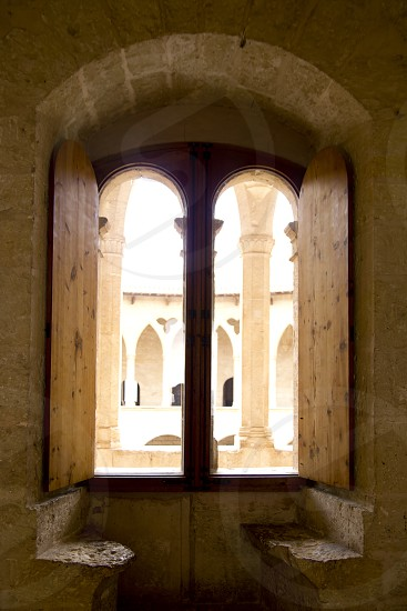 Arch indoor view from Majorca Bellver stone Castle in Palma de Mallorca photo
