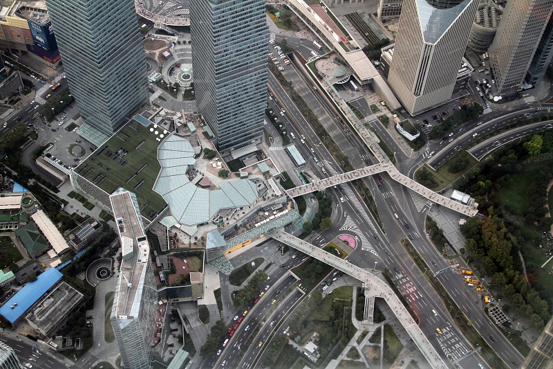 Aeral view of Shanghai finantial center with roads elevated paths brdiges skyscrapers. photo