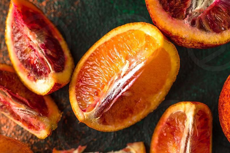 Fresh sliced blood oranges photo