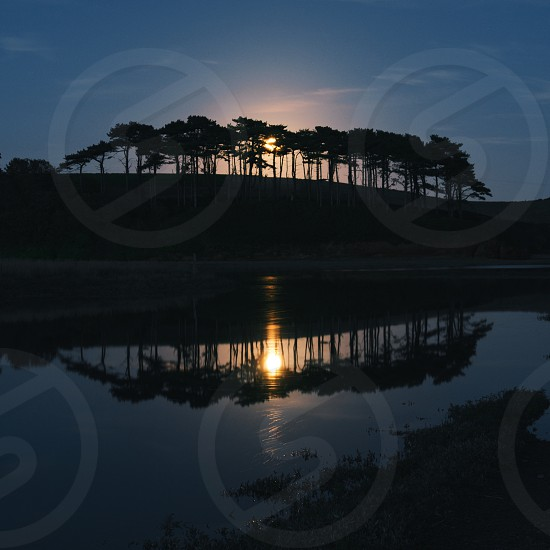 The famous line of overlooking the River Otter is lit from behind by moonlight. Taken in Budleigh Salterton Devon UK. photo