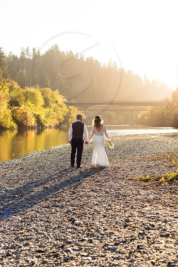 love couple Valentine wedding boho river beauty photo