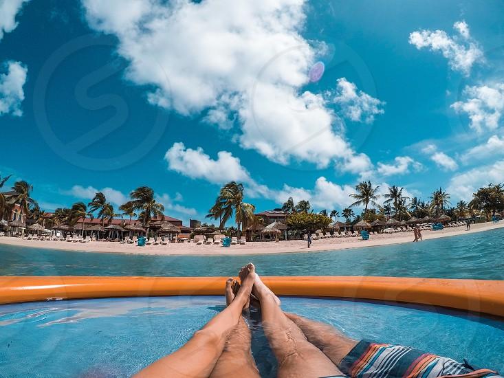 Beach tropical paradise couple love ocean palm tree relax chill photo