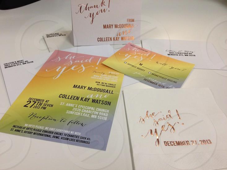 Gay wedding invitation suite photo