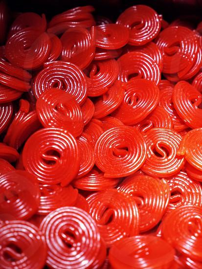 Red raspberry licorice candy photo