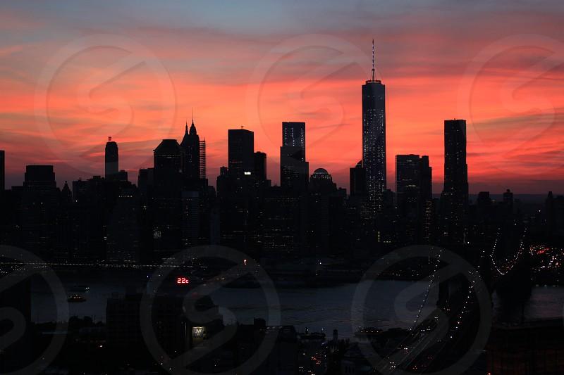 New York Manhattan city night sunset silhouette Brooklyn bridge freedom tower photo