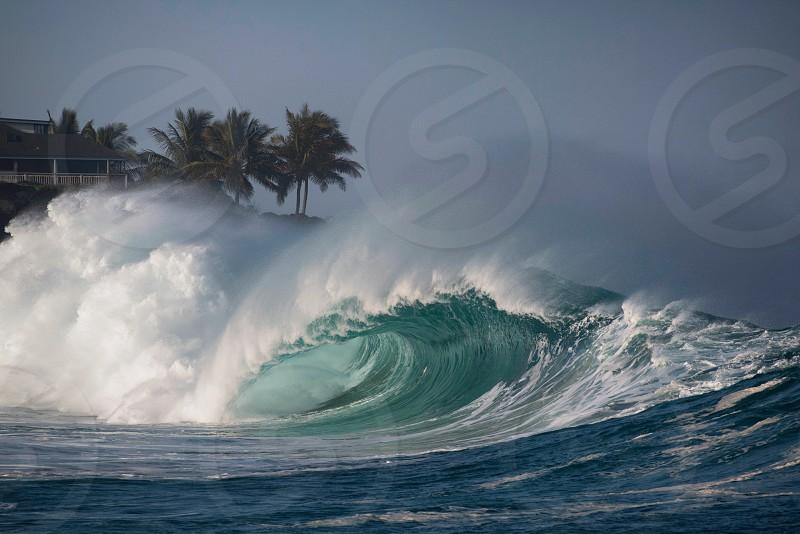 Giant wave at Waimea Bay Oahu Hawaii photo