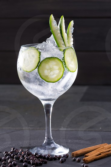 Gin tonic cocktail with cucumber and cinnamon and juniper berries on black photo