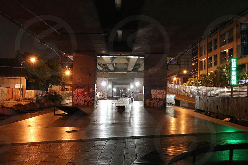 Skateboard park under elevated road in Taipei photo