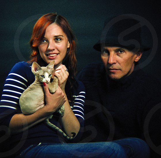 Portrait with a kitten photo