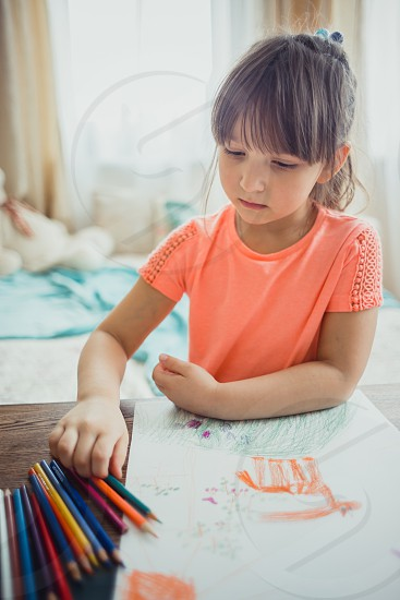 Koh-I-nor sketch sketchbook painting drawing draw pastel pencils desk table wooden girl kid child  art card painting colors  colorful childhood children pony horse education home indoor photo
