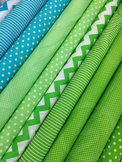 Fabric textiles cotton polyester row stripes spots zigzag diagonal green blue photo