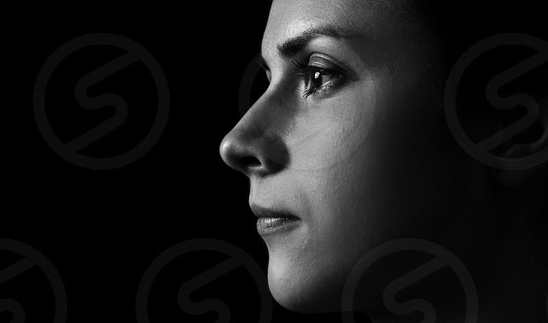 Black & White Model Profile on Black Background photo