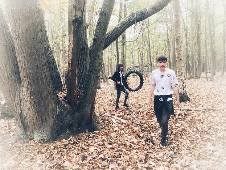 Teenage fun in the woods photo