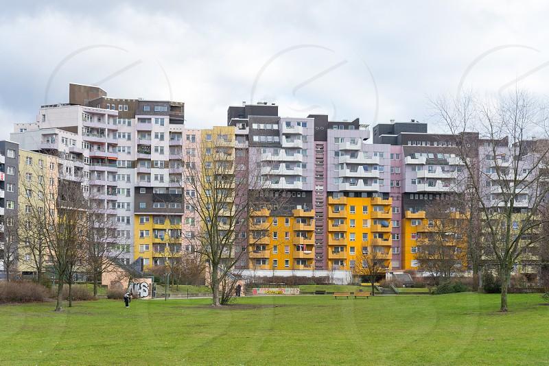 The unique group of tenement buildings beside Statthaus Böcklerpark inside Kreuzberg Neighborhood in Berlin Germany photo