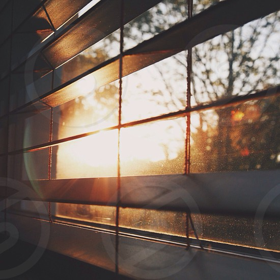brown wooden window blinds and sunset photo