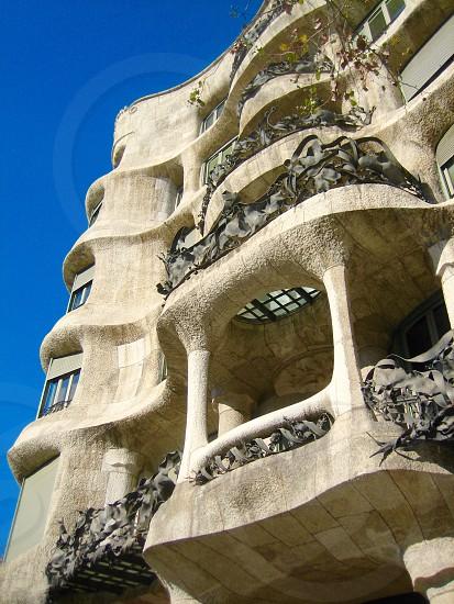Barcelona Spain Europe Gaudi architect architecture undulating organic nature natural stucco balcony Spanish repetitious  photo