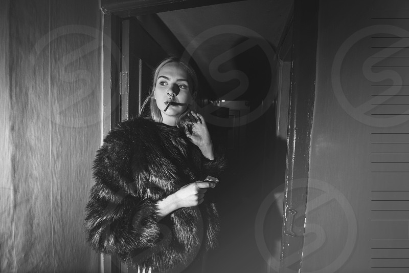 Fashion girl lithuaniangirl sexy nice pretty highfashion highkey lowkey photography black and white europe europien vogue issue smoke smoking fur fancy royal posh photo
