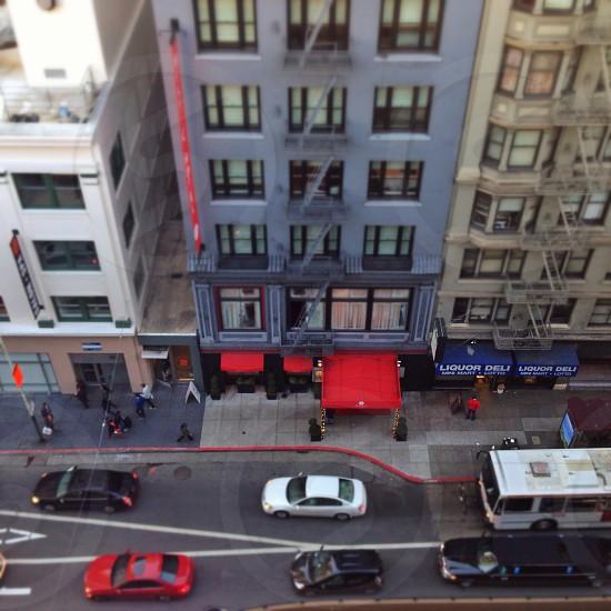 Busy city street photo