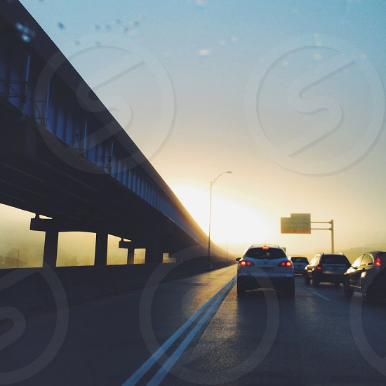 Bridges • cars • transportation • architecture • commute • sunrise • traffic • lifestyle • morning photo