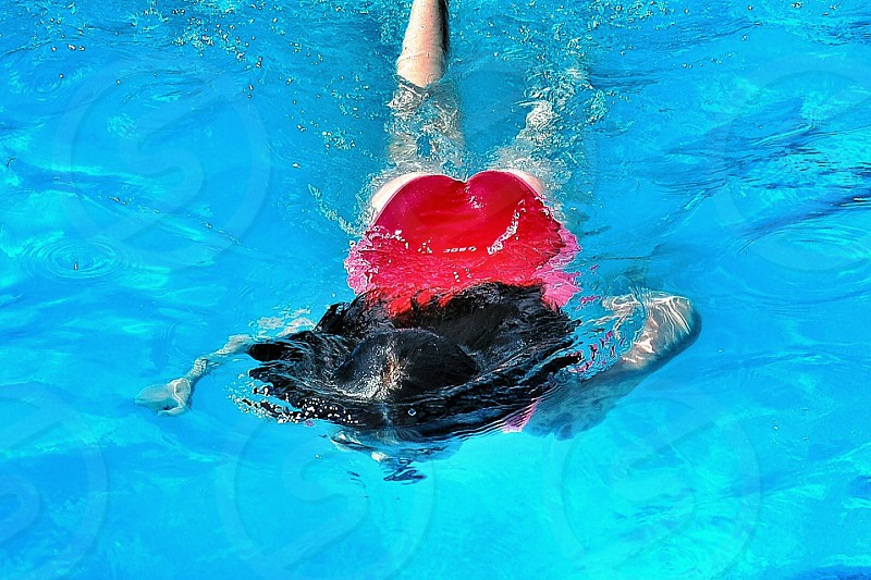 woman in red swim suit on water pool photo