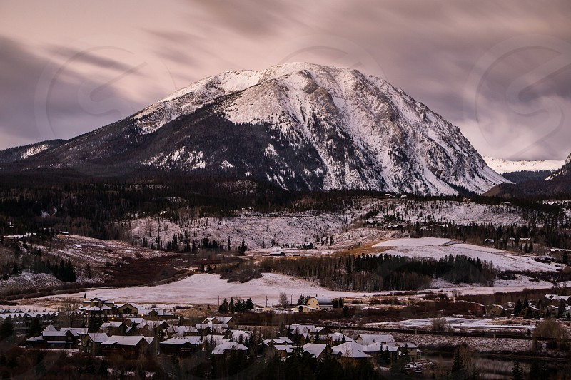 Buffalo Mountain; Silverthorne Colorado.  Just before sunrise on a early winter morning. photo