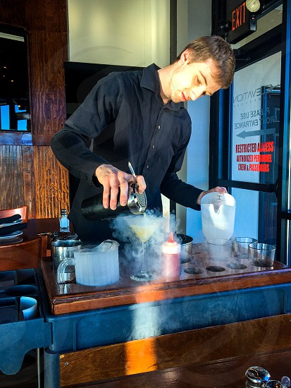 Bartender at work...Making Nitro-Martinis tableside photo
