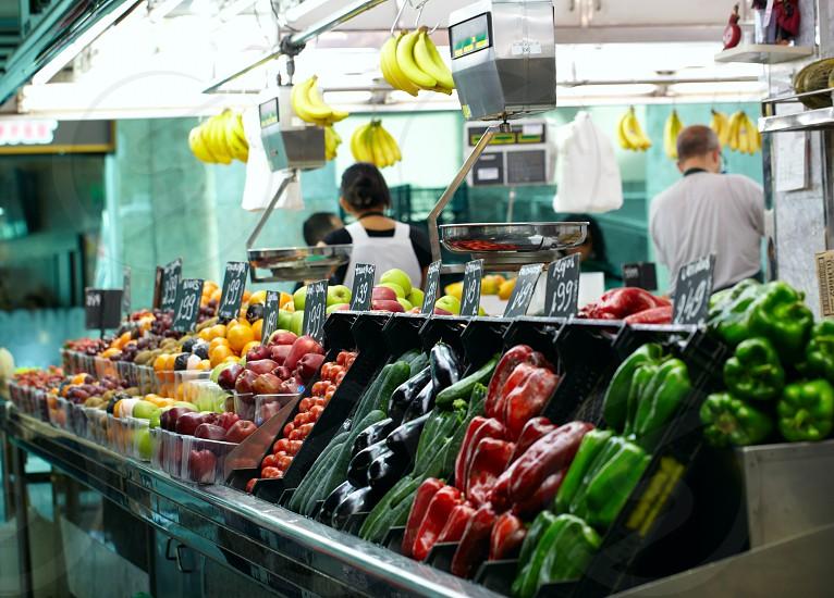 Fruits market in La Boqueria Barcelona famous marketplace. photo