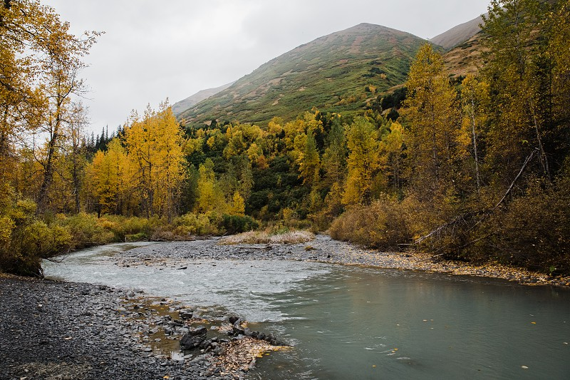 fall colors in the Alaskan mountains photo
