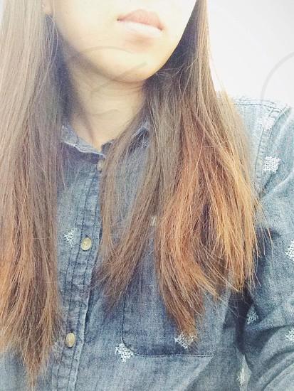 womens blue denim embroidered polka dot button down shirt photo