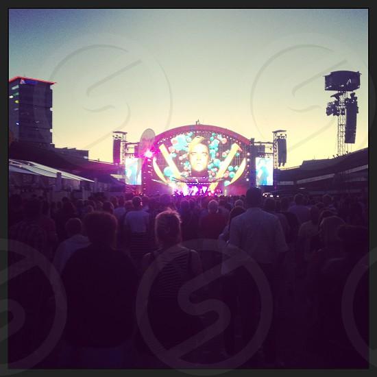 Robbie Williams Concert Ullevi Gothenburg Sweden during summertime sunset photo