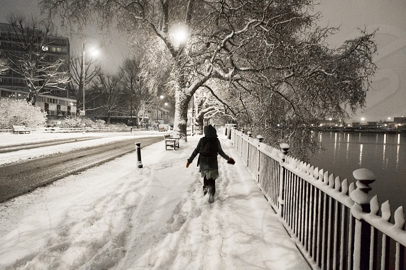 A female running in the snow on The Embankment City of Westminster London UK photo