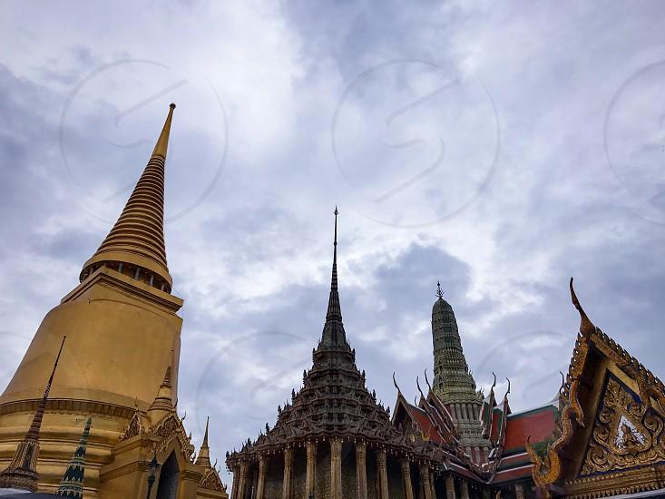 Outdoor day colour horizontal landscape Grand Palace Bangkok Thailand Kingdom travel tourism tourist wanderlust gold gold leaf Buddhist Buddhism holy royal regal monarchy temple temples photo