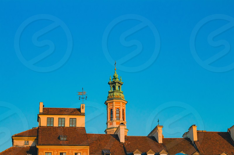 Warsaw Old Town buildings and churchs. photo