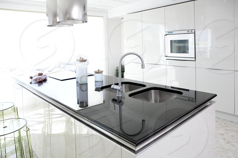 Modern white kitchen clean interior design deco architecture photo