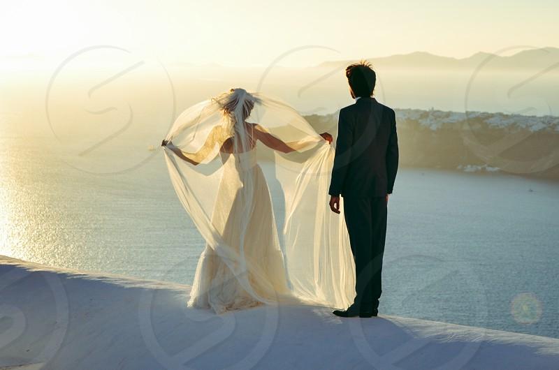 Couple marriage terrace sea landscape bridal vail light photo