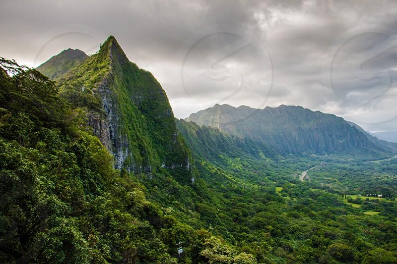 Pali lookout Hawaii Oahu mountains mountain range stormy cloudy amazing view photo