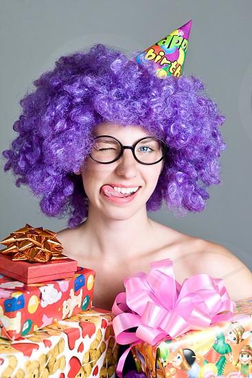 Amazing girl happy birthday funny joy present box love smile happy congrats   photo