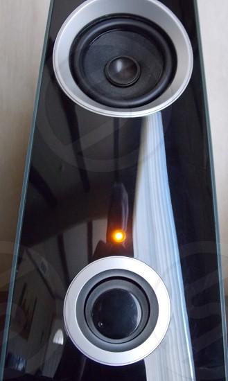 black white large speaker photo