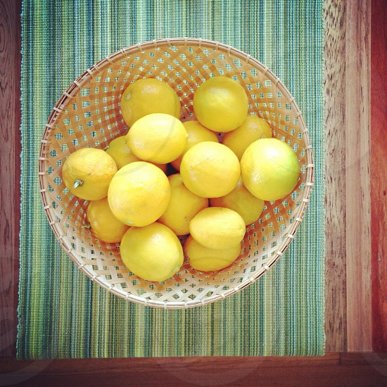 Lemons in a basket photo