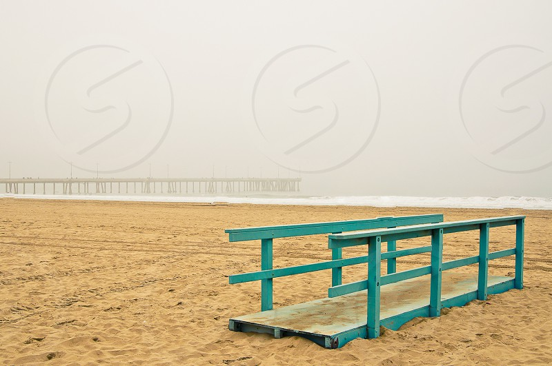 Road to nowhere with Venice Pier in back round. Venice Beach California. photo