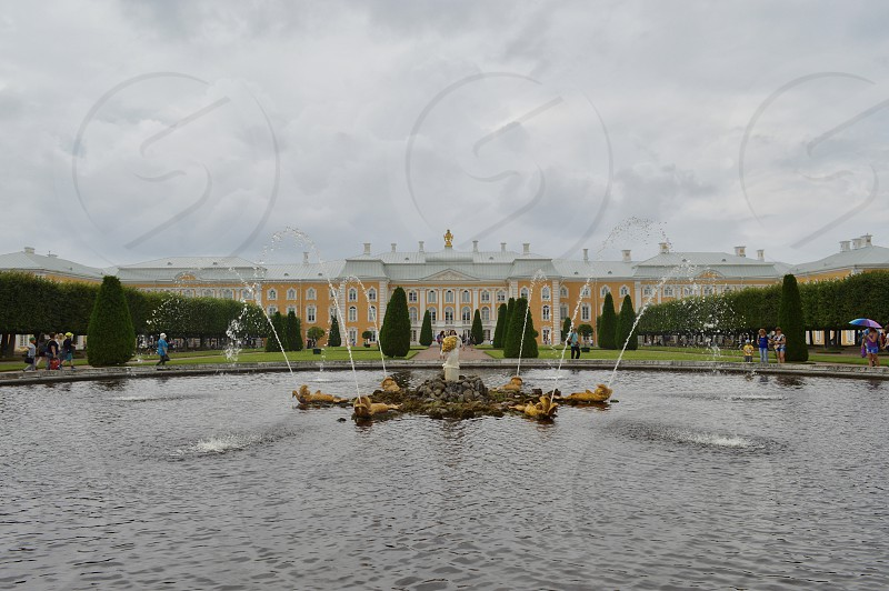 Peterhof palace and gardens in the near from Saint Petersburg.  photo