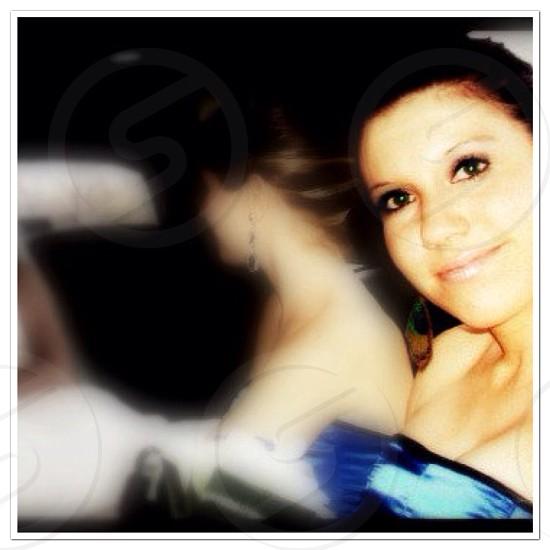 woman in blue bustier top photo