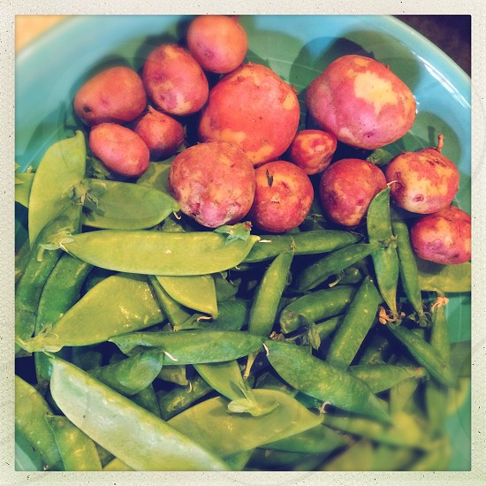 sweet potato and snow peas photo