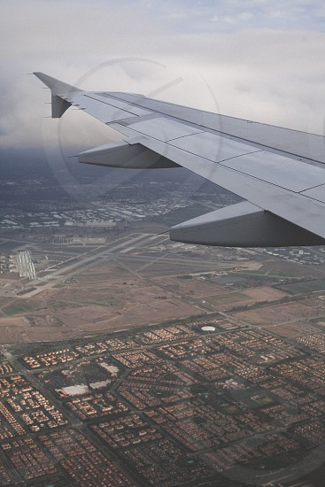 city bird eye view from plane photo