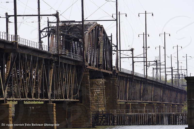 """Very old very rusty but still standing railroad bridge spanning the Susquehanna River.  I title this one...""""Time changes all"""" photo"""