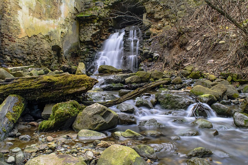 Completely natural landscape with waterfall photo